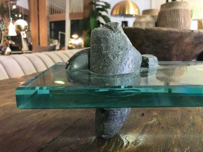 Japanese Zen Garden Rock and Glass Sculpture For Sale 3