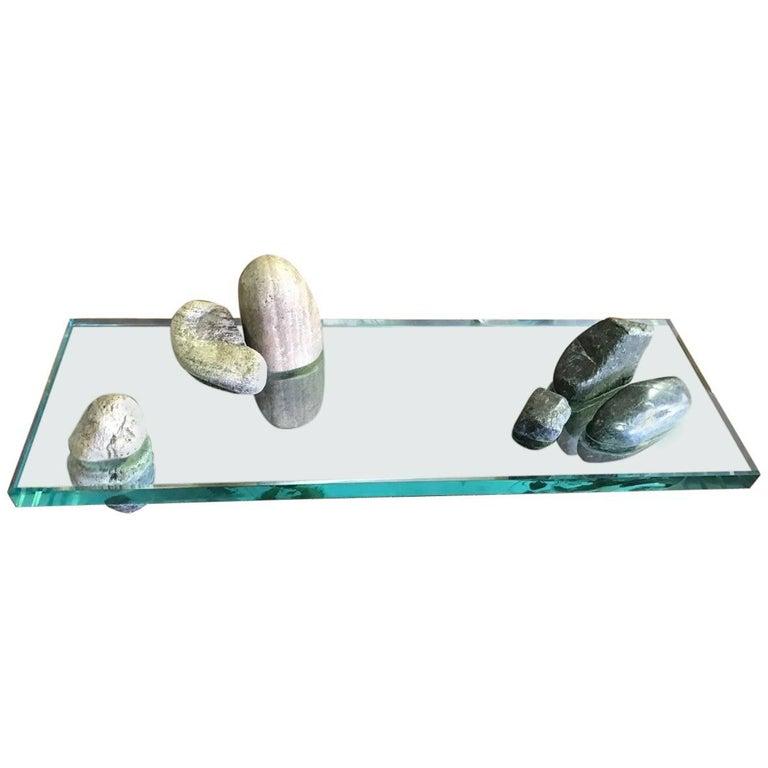 Japanese Zen Garden Rock and Glass Sculpture For Sale