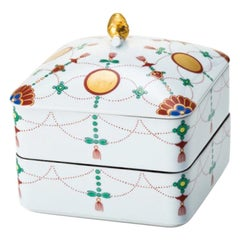 Japaneswe Contemporary Green White Gold Porcelain Box by Renowned Kiln