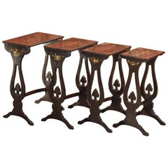 Japanned Antique Nest of Tables, Victorian, circa 1880