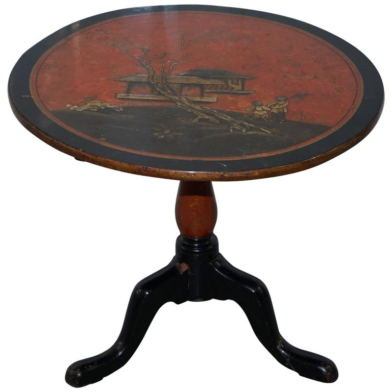 Japanned Lacquered Antique Side End Lamp Wine Round Table