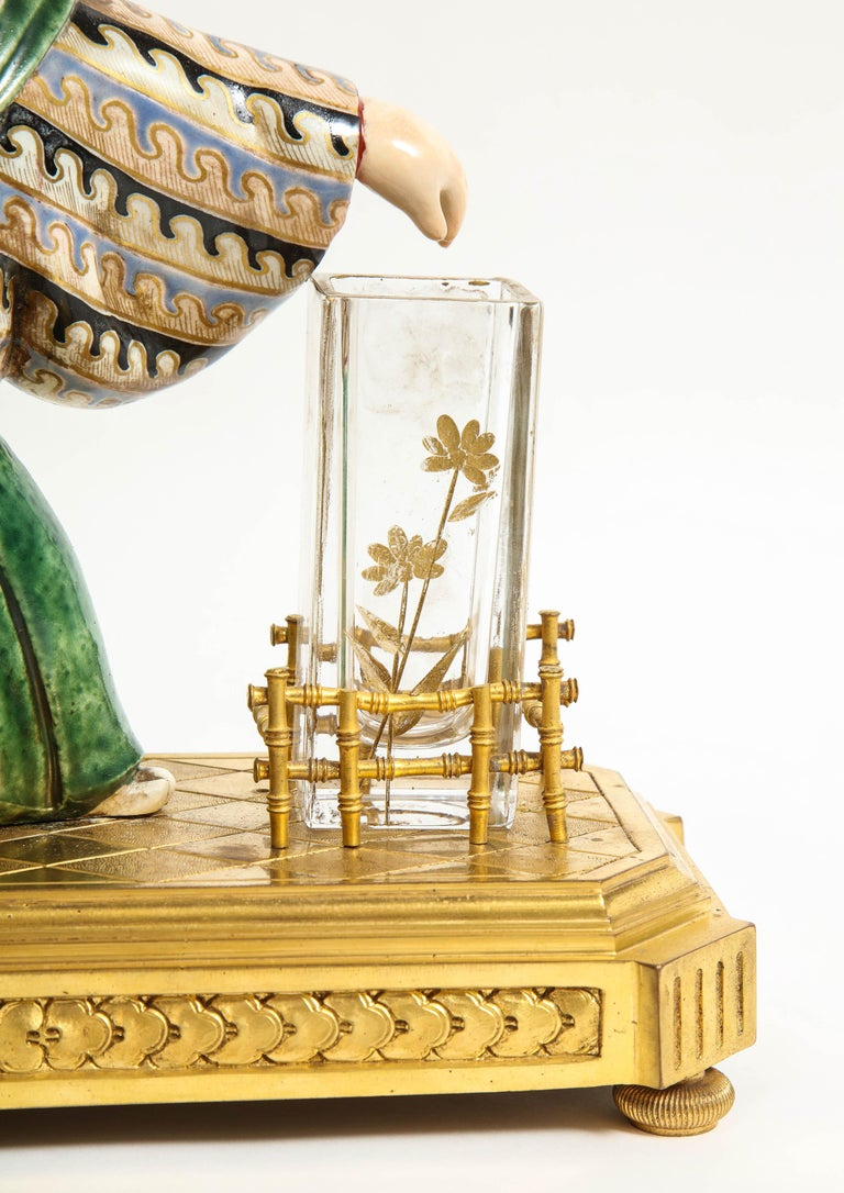 Japonisme French Ormolu, Japanese Porcelain and Glass Centerpiece, circa 1870 For Sale 6