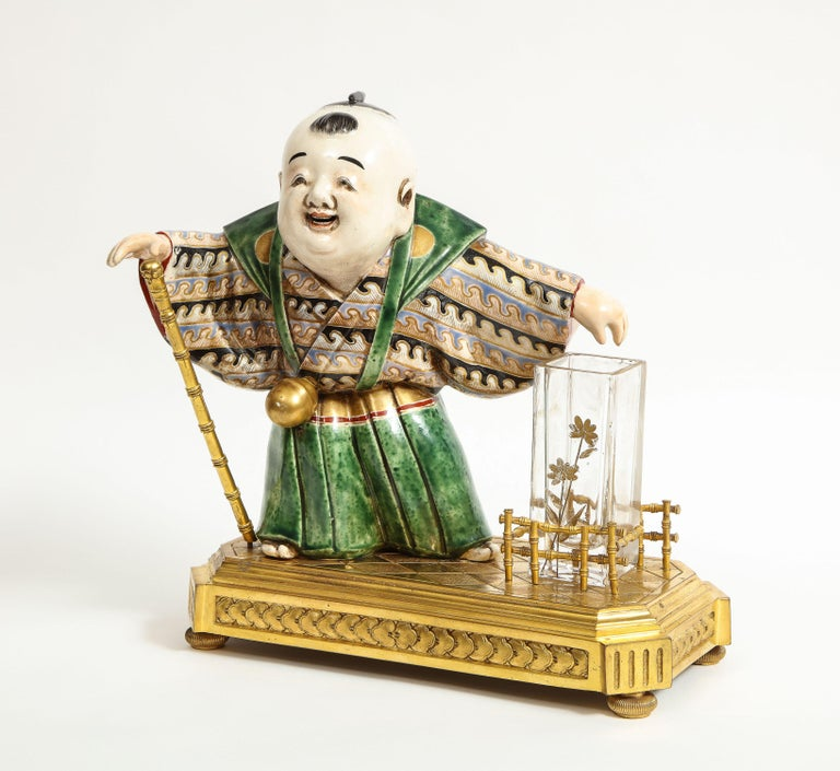 Japonisme French Ormolu, Japanese Porcelain and Glass Centerpiece, circa 1870 For Sale 8
