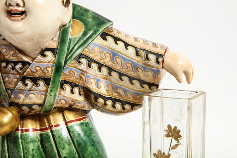 Japonisme French Ormolu, Japanese Porcelain and Glass Centerpiece, circa 1870 For Sale 9