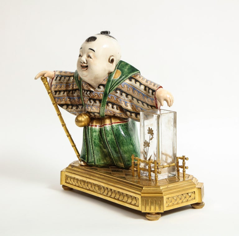 Japonisme French Ormolu, Japanese Porcelain and Glass Centerpiece, circa 1870 For Sale 11