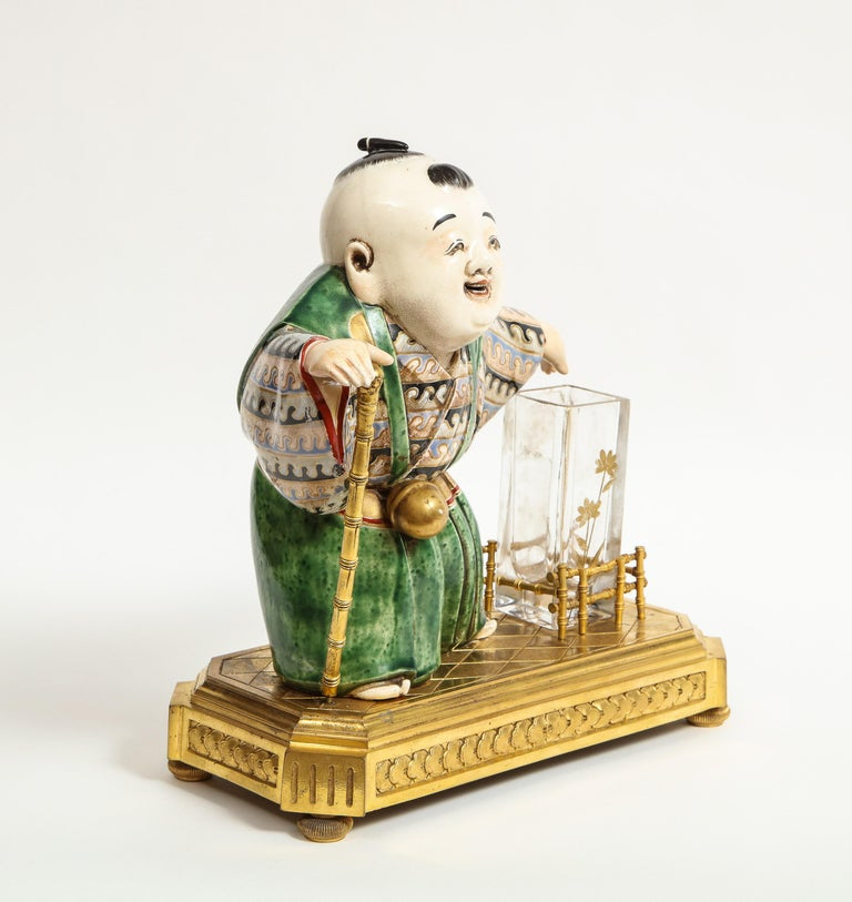 Japonisme French Ormolu, Japanese Porcelain and Glass Centerpiece, circa 1870 For Sale 16