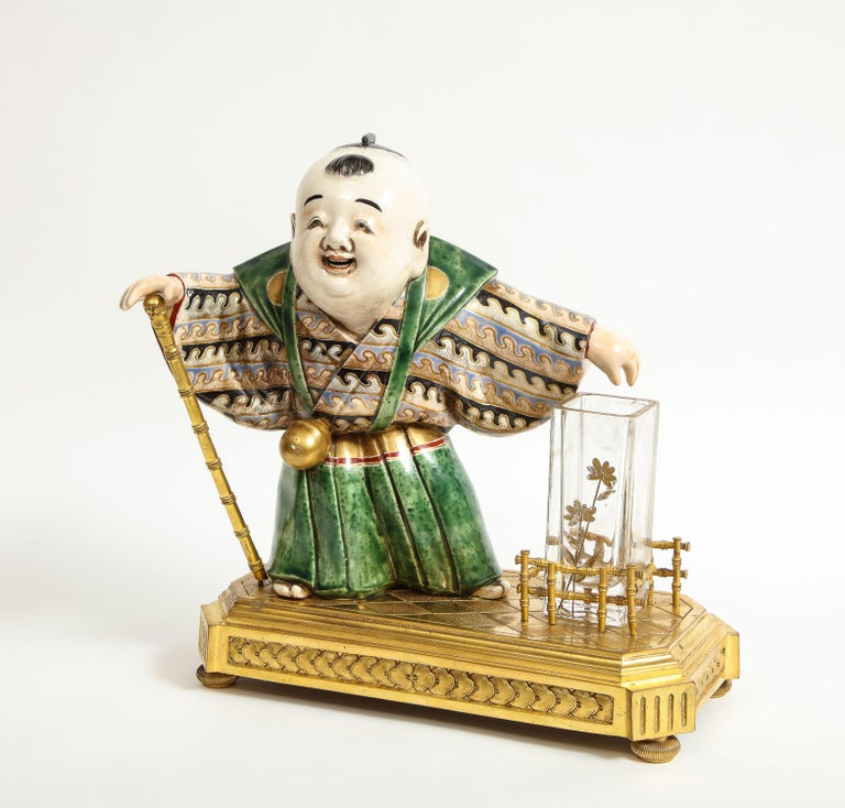 Japonisme French Ormolu, Japanese Porcelain and Glass Centerpiece, circa 1870 In Good Condition For Sale In New York, NY
