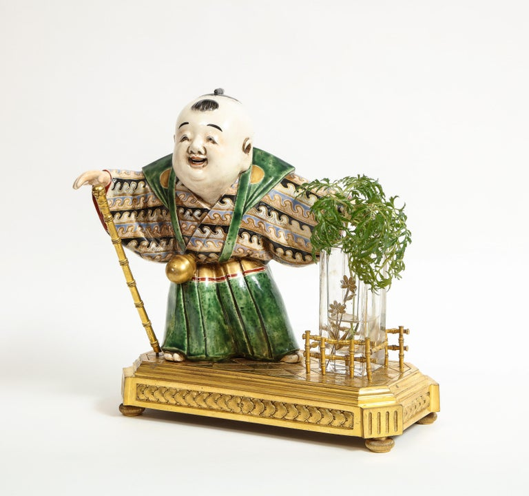 Japonisme French Ormolu, Japanese Porcelain and Glass Centerpiece, circa 1870 For Sale 1