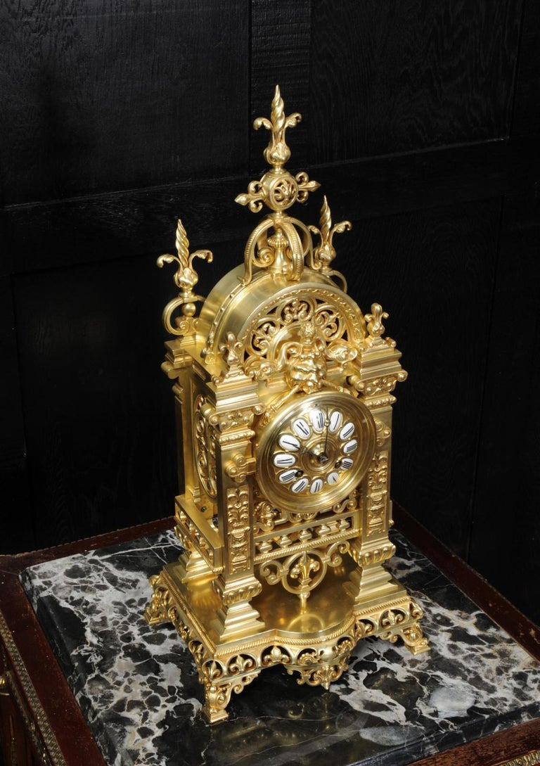 Japy Freres Antique French Gilt Bronze Gothic Clock For Sale 6