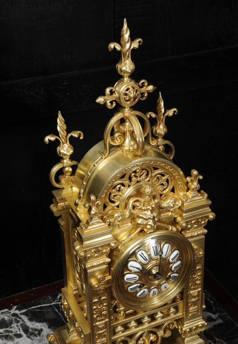 Japy Freres Antique French Gilt Bronze Gothic Clock For Sale 7