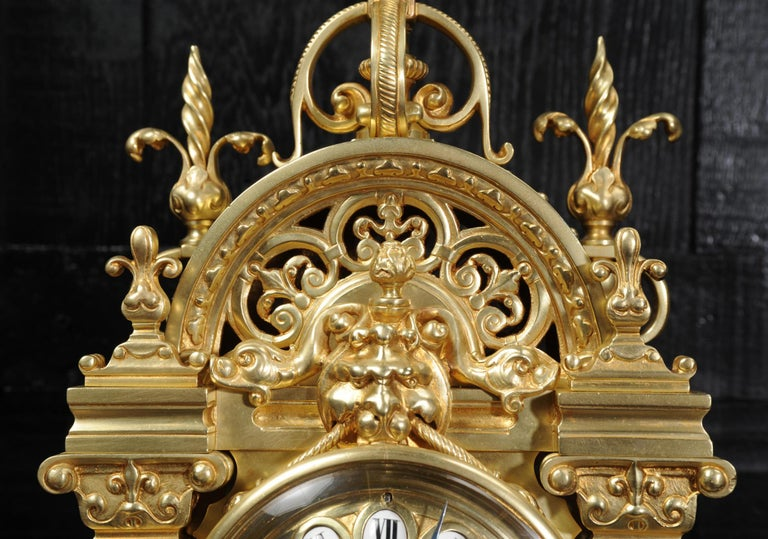 Japy Freres Antique French Gilt Bronze Gothic Clock For Sale 8