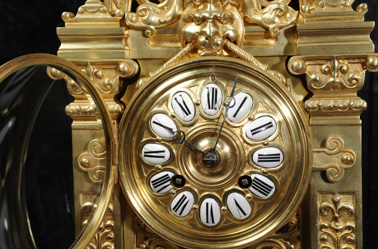 Japy Freres Antique French Gilt Bronze Gothic Clock For Sale 9
