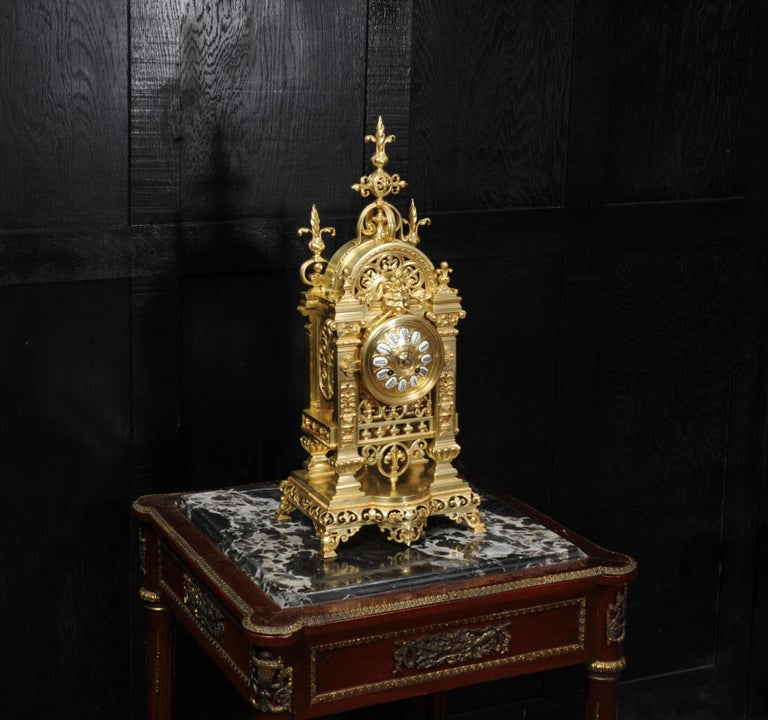 Japy Freres Antique French Gilt Bronze Gothic Clock In Good Condition For Sale In Belper, Derbyshire