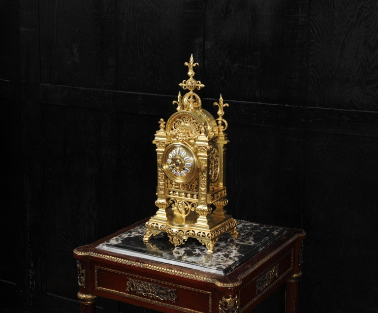 19th Century Japy Freres Antique French Gilt Bronze Gothic Clock For Sale