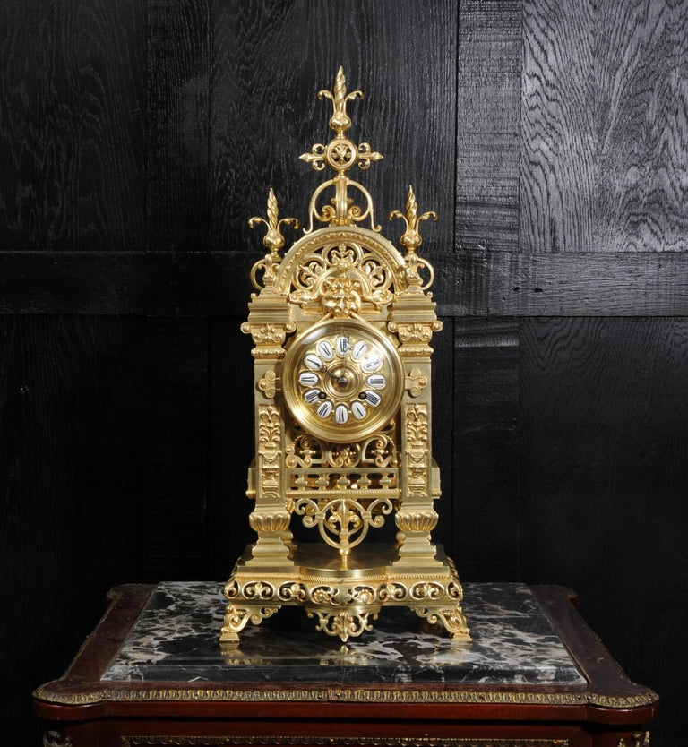 Japy Freres Antique French Gilt Bronze Gothic Clock For Sale 1