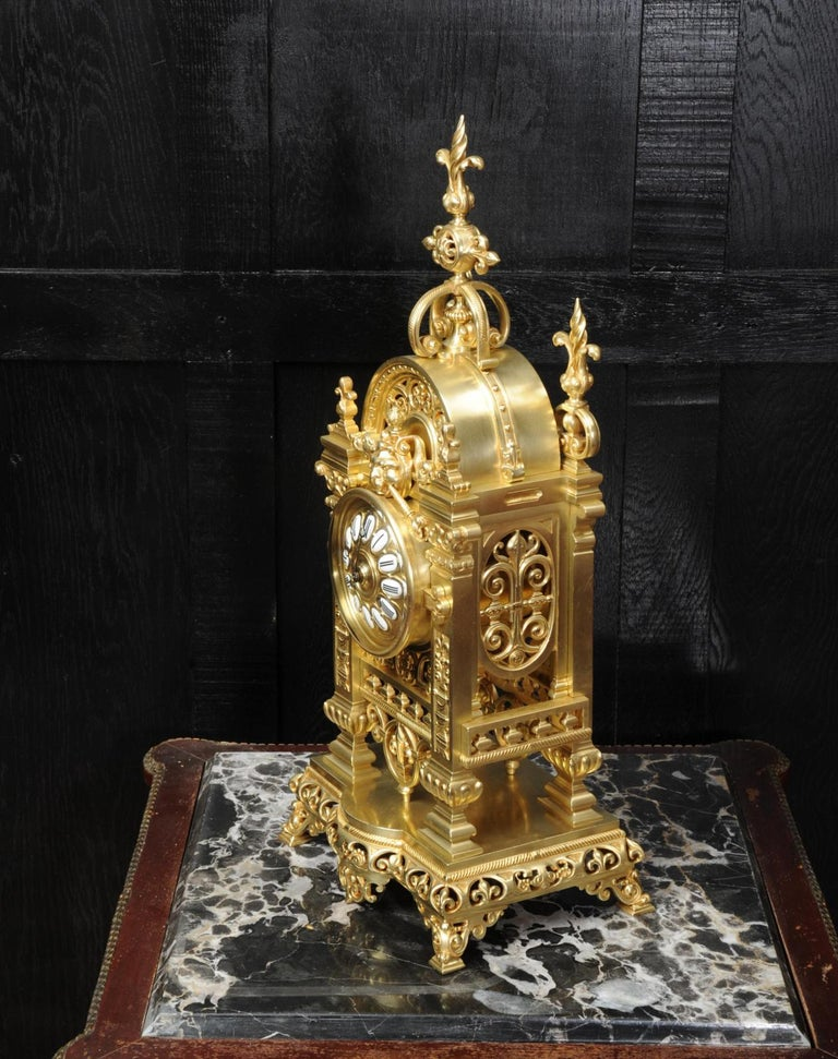 Japy Freres Antique French Gilt Bronze Gothic Clock For Sale 4