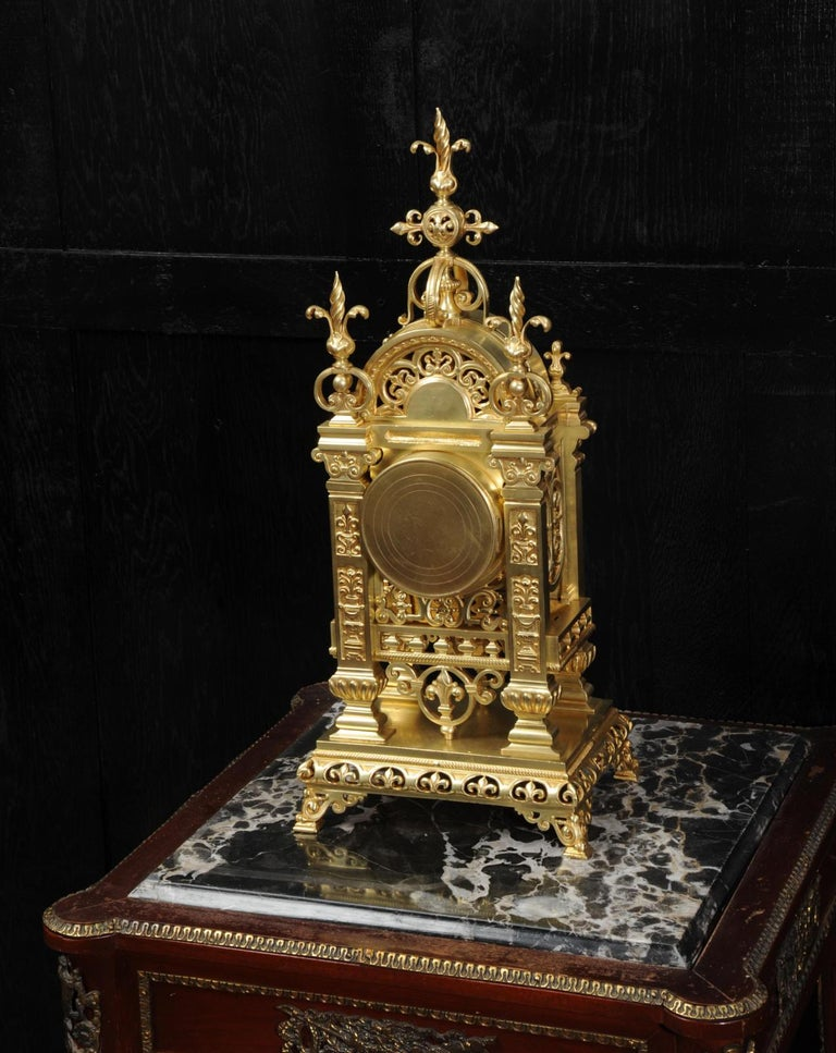 Japy Freres Antique French Gilt Bronze Gothic Clock For Sale 5
