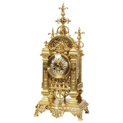 Japy Freres Antique French Gilt Bronze Gothic Clock