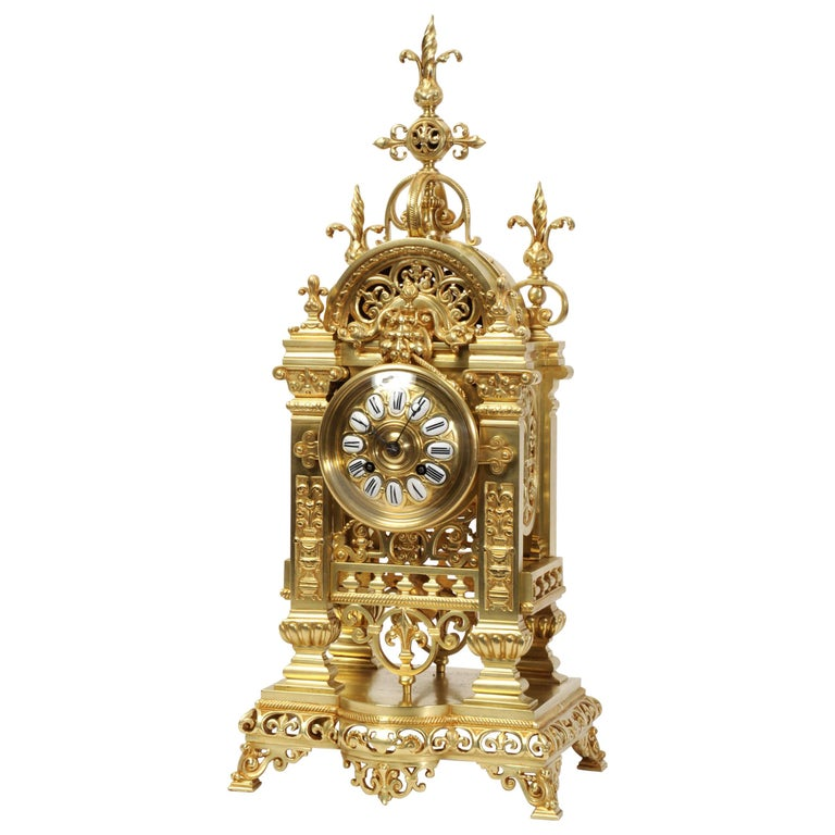 Japy Freres Antique French Gilt Bronze Gothic Clock For Sale