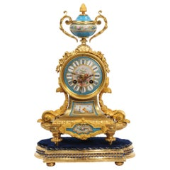 Japy Freres Antique French Ormolu and Sèvres Porcelain Clock