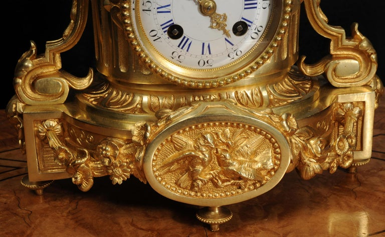 Japy Freres Antique French Ormolu Boudoir Clock For Sale 4