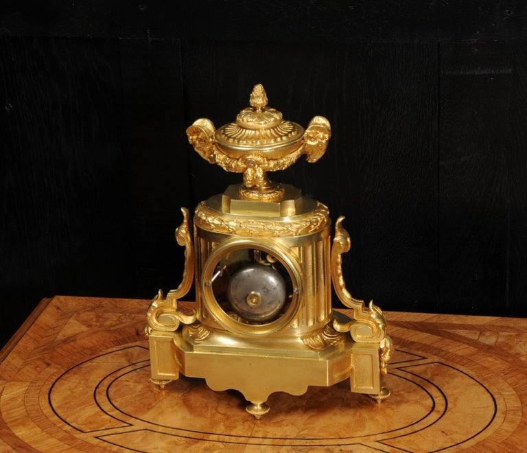 Japy Freres Antique French Ormolu Boudoir Clock For Sale 5