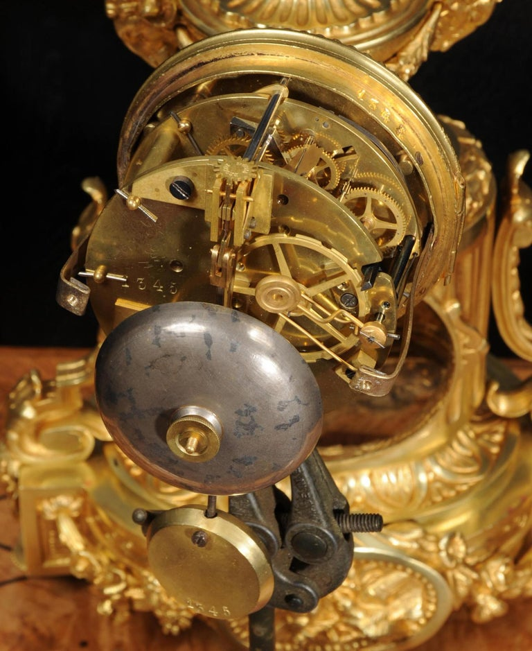 Japy Freres Antique French Ormolu Boudoir Clock For Sale 8