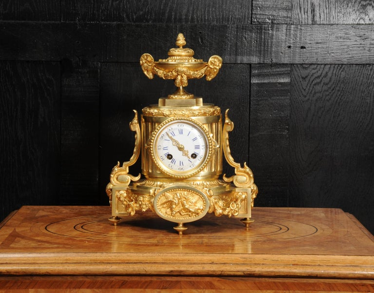 Neoclassical Japy Freres Antique French Ormolu Boudoir Clock For Sale