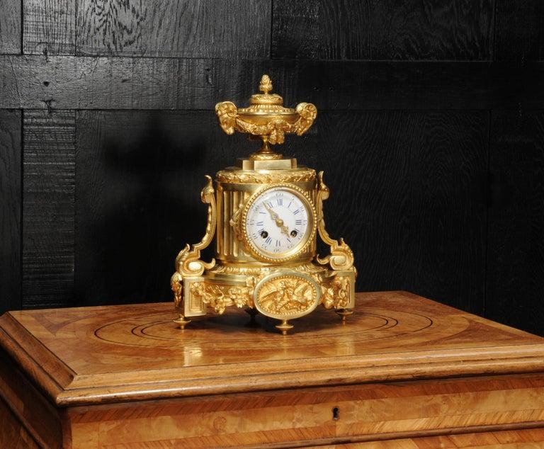 Gilt Japy Freres Antique French Ormolu Boudoir Clock For Sale
