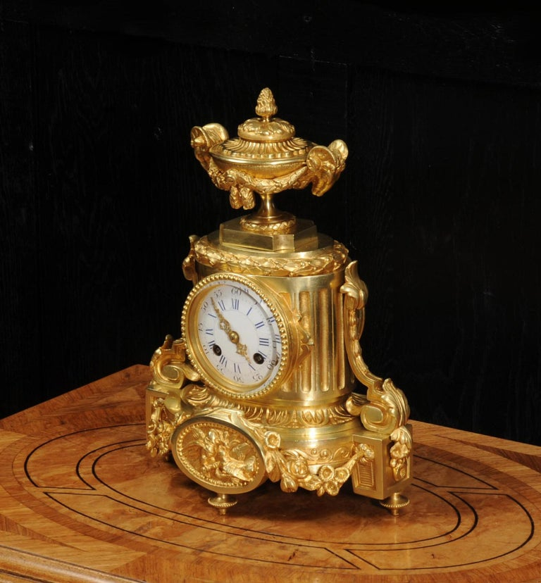 Japy Freres Antique French Ormolu Boudoir Clock In Good Condition For Sale In Belper, Derbyshire