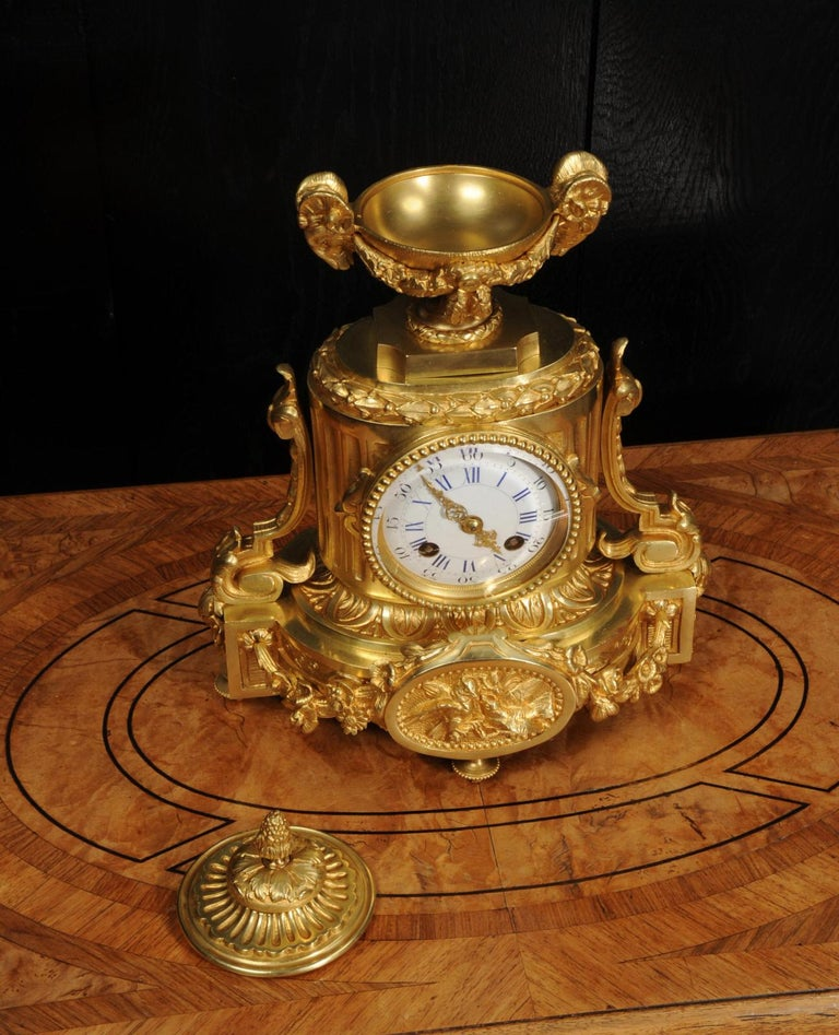 19th Century Japy Freres Antique French Ormolu Boudoir Clock For Sale
