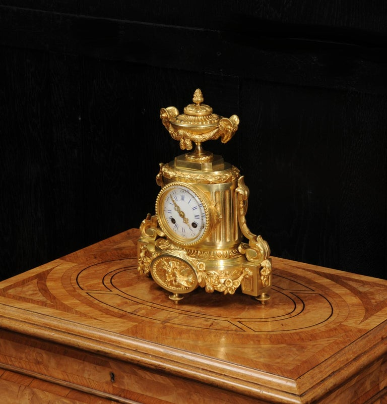 Japy Freres Antique French Ormolu Boudoir Clock For Sale 1