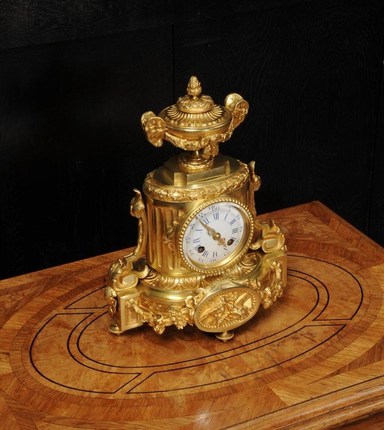 Japy Freres Antique French Ormolu Boudoir Clock For Sale 2