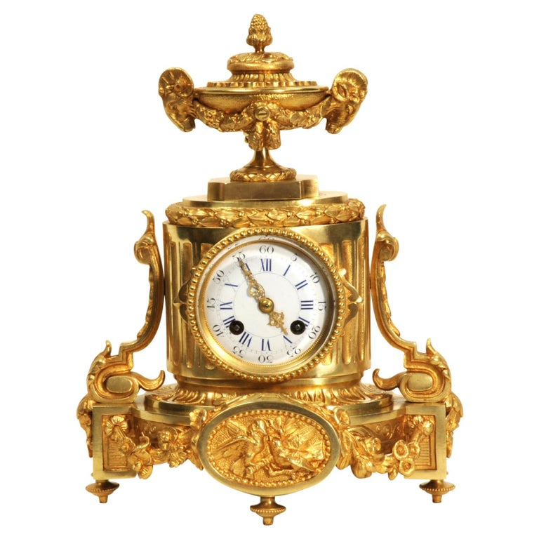 Japy Freres Antique French Ormolu Boudoir Clock For Sale