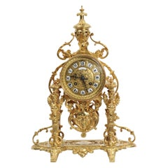 Japy Frères Baroque Portico Table Clock with Visible Pendulum
