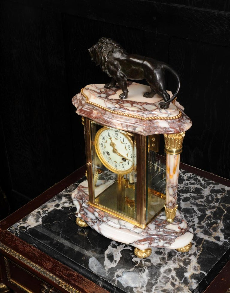 Japy Frères Four Glass Regulator Clock, Lion For Sale 3