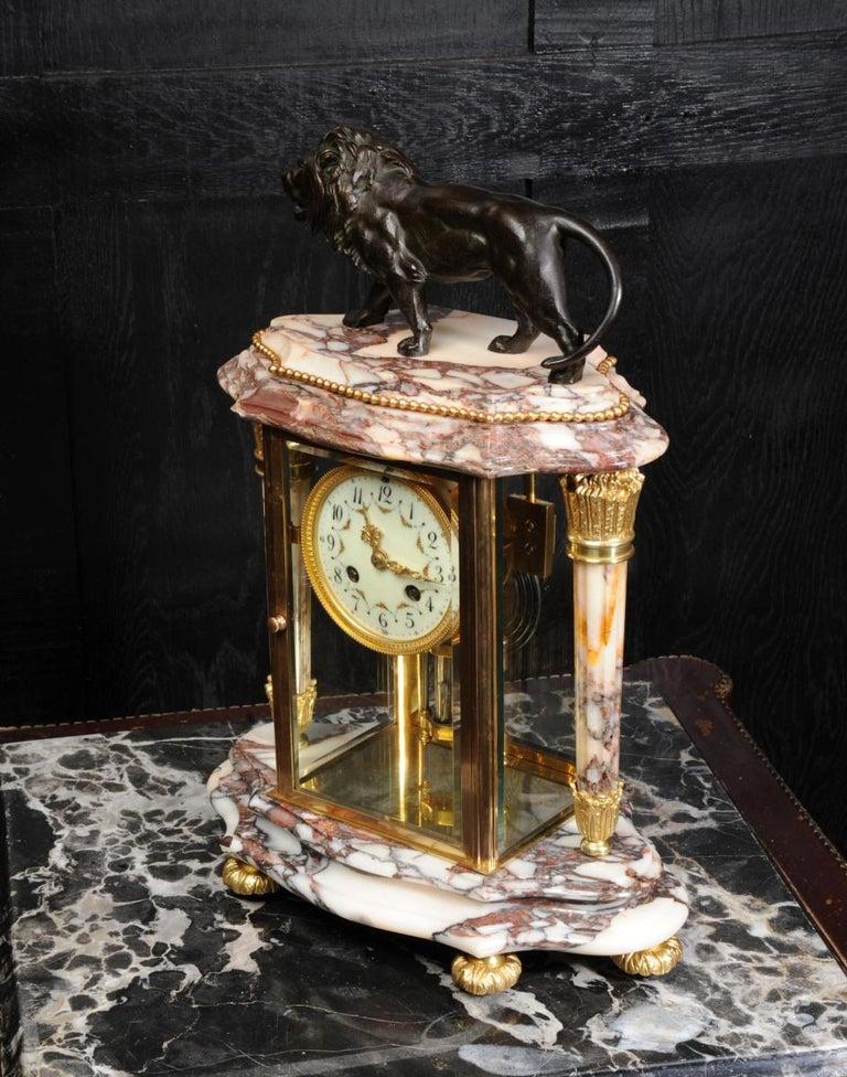 Japy Frères Four Glass Regulator Clock, Lion For Sale 4
