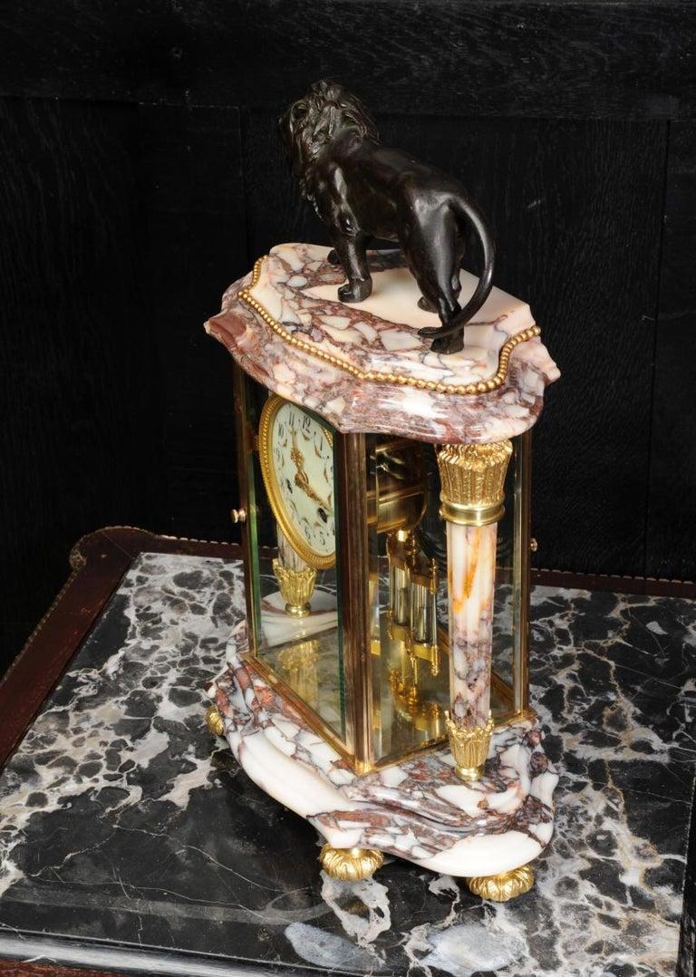 Japy Frères Four Glass Regulator Clock, Lion For Sale 5