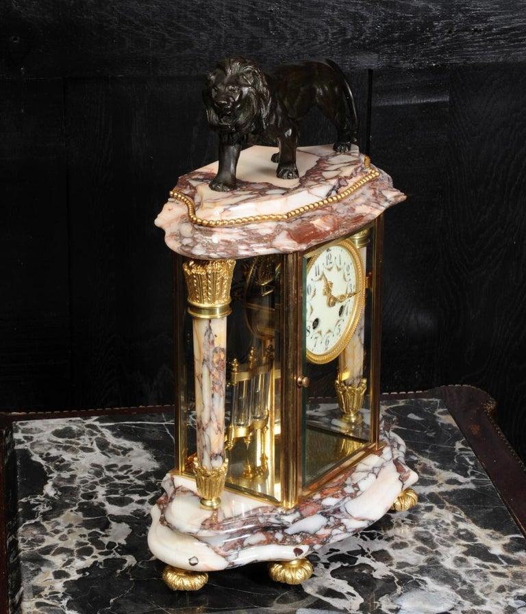Japy Frères Four Glass Regulator Clock, Lion For Sale 6