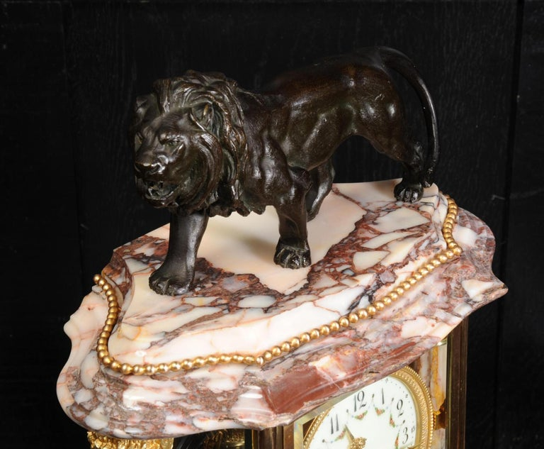 Japy Frères Four Glass Regulator Clock, Lion For Sale 7