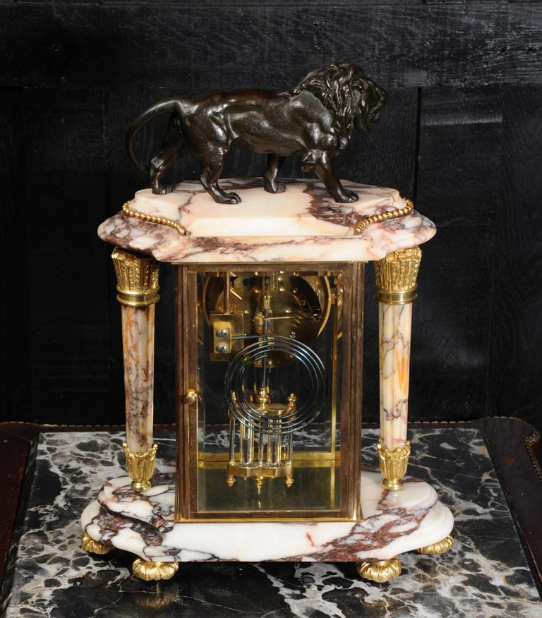 Japy Frères Four Glass Regulator Clock, Lion For Sale 8