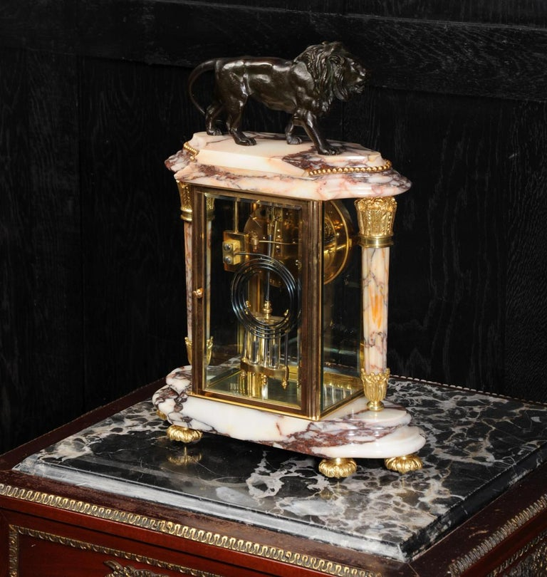 Japy Frères Four Glass Regulator Clock, Lion For Sale 9