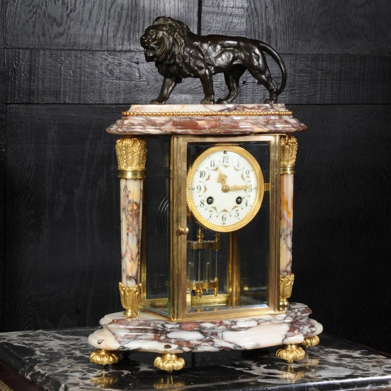 French Japy Frères Four Glass Regulator Clock, Lion For Sale