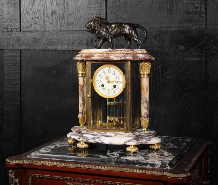 Japy Frères Four Glass Regulator Clock, Lion In Good Condition For Sale In Belper, Derbyshire