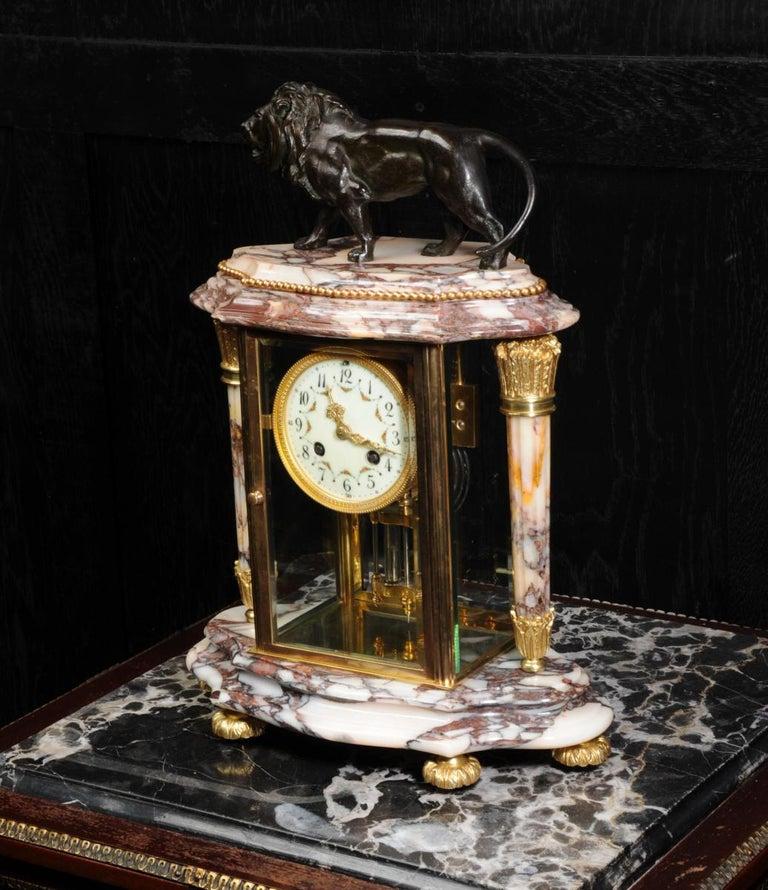 19th Century Japy Frères Four Glass Regulator Clock, Lion For Sale