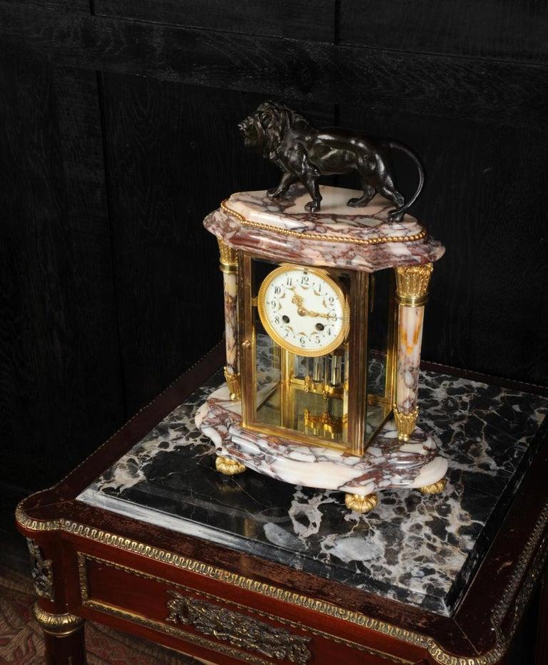 Japy Frères Four Glass Regulator Clock, Lion For Sale 1