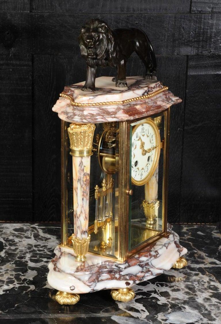 Japy Frères Four Glass Regulator Clock, Lion For Sale 2