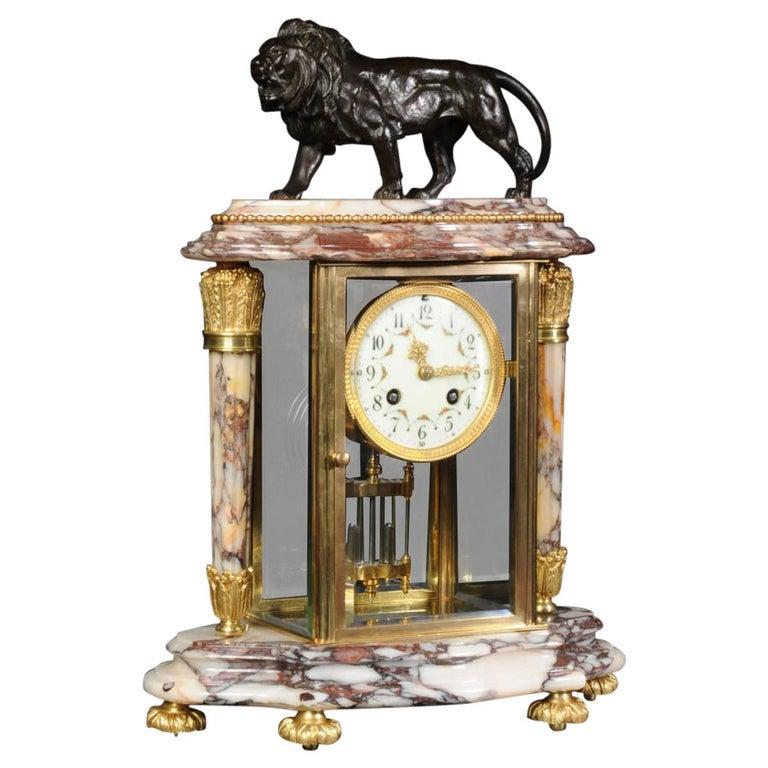 Japy Frères Four Glass Regulator Clock, Lion For Sale