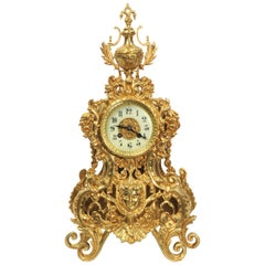 Japy Freres Large Baroque Gilt Bronze Antique French Clock
