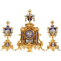 Japy Frères Large Gilt and Sèvres Porcelain Baroque Antique Clock Set